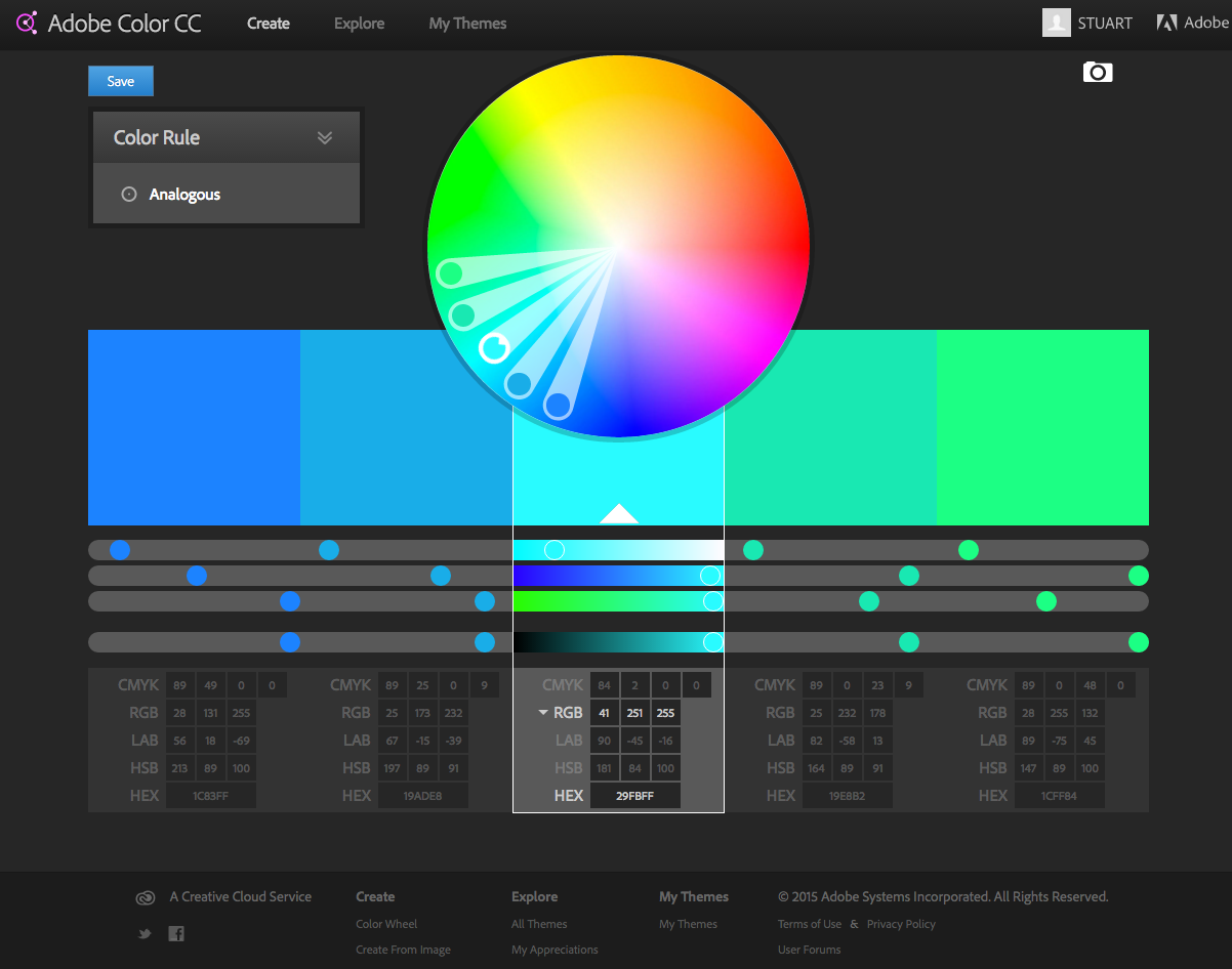 Adobe's colour scheme generator